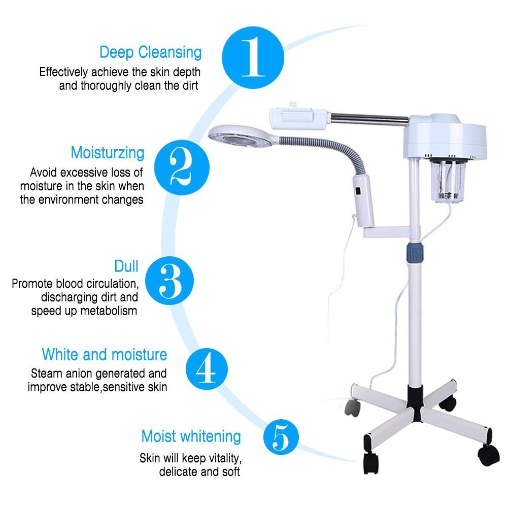 2in1 Facial Steamer, 5X Magnifying LED Floor Lamp Multifunction Spa Professional Humidifier Beauty Facial Clean Skin Care Tool by ZJchao (Image #2)