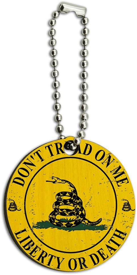 Graphics and More Gadsden Dont Tread on Me Liberty or Death Wood Wooden Round Key Chain
