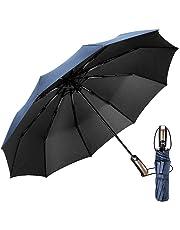 EMAGIE Paraguas Plegable Grande de Golf Sombrilla de Viaje Protección UV Paraguas para lluvia Anti-Viento Fácil de Tocar con Apertura y Cierre Automático Portátil Compacto Seca Rápido 46 Pulgadas Azul