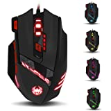 [2015 New Version] E-3lue T90 USB Wired Gaming Mouse, 1000/1600/2400/3200/5500/9200 DPI High Precision 7-color LED Light PC Mouse, Weight Tuning Set