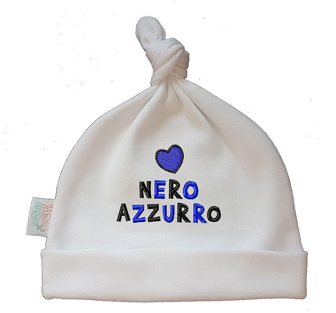Zigozago - Cappellino cuffia con nodo CUORE NERO AZZURRO - Taglia 0-6 mesi