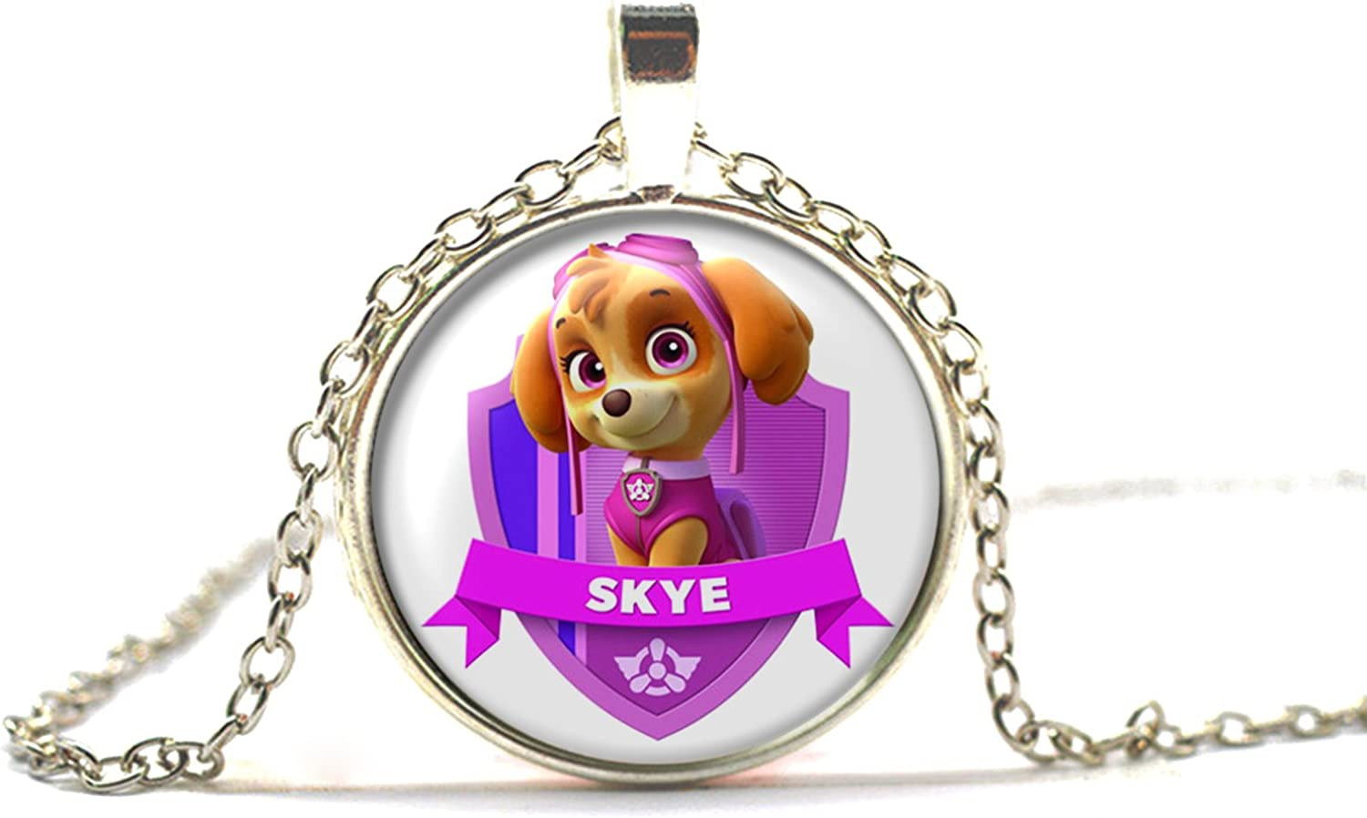 PAW PATROL SKYE  PENDANT SILVER PLATED CHAIN 16 INCH GIFT BOX PARTY BIRTHDAY