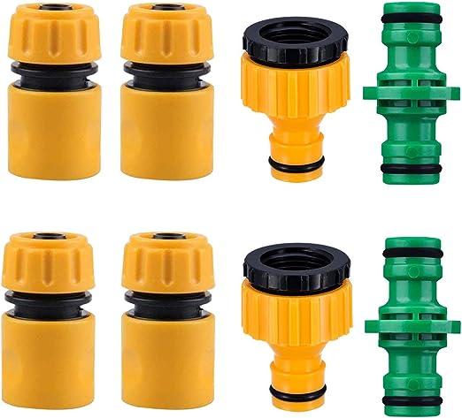 BETOY Conector de la Manguera Juego de 8 Conectores de Manguera para Tubo de Manguera de jardín(4Conector de Manguera Rapido, 2 Manguera Doble Macho, 2 * 2 en 1 Plástico Adaptador de