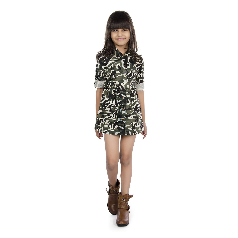 fbfd263a67b3a Olele® Camouflage Dress for Girls   Army Print Dress for Girls   Military  Print top for Girls Full Sleeves   Dress for Girl 4-5 Years   Dress for  Girls 5-6 ...