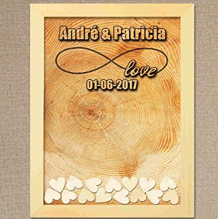 Tamengi Personalized Wedding Guest Book Custom Name Date Guestbook Alternative Wood Drop Top Frame Wedding Guest Book Box Rustic Unique 120pcs Hearts Decor Office Products Forms Recordkeeping Money Handling