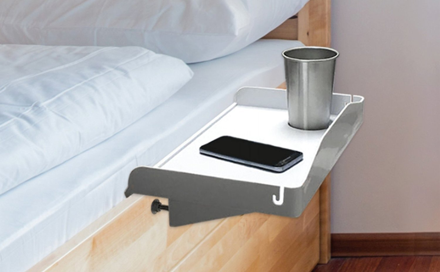 Modern Innovations Bedside Tray with Cup Holder & Cable Cord Insert for Use as Bunk Bed Shelf, Kids Nightstand & Student Dorm Room Nightstand, 15 Inch Plastic Tray (White)