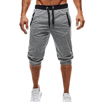 e9f8ba8703541 Yying Hombre Verano Pantalones Cortos - Moda Cintura Media Slim Fit Pantalón  de Chándal Stretch Casuales Pantalones para Jogging Fitness Deportivos  ...