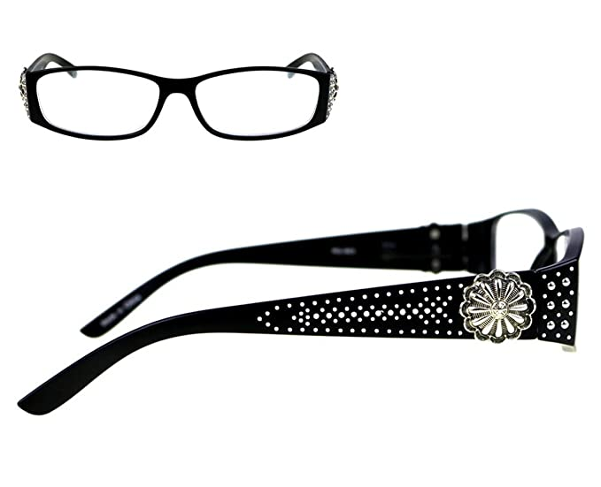 d7fb83c98748c Montana West JP Studded Flower Concho Reading Eye Glasses Silver Black  (Black
