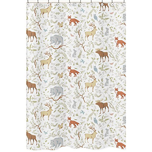 Sweet Jojo Designs Blue, Grey and White Woodland Deer Fox Bear Animal Toile Kids Bathroom Fabric Bath Shower Curtain