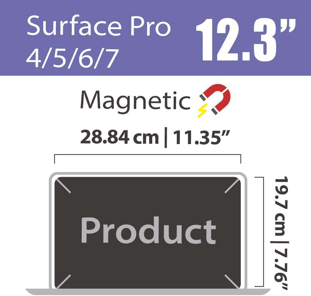 SenseAGE Microsoft Surface Pro Magnetic Privacy Screen Protector Filter Compatible for Microsoft Surface Pro 7//6//5//4 12.3 inch Easy On//Off Anti-Blue Light Privacy Screen Protector