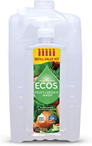 ECOS Non-Toxic Fruit + Veggie Wash: Small Ready-to-Use 16 fl. oz Spray Bottle Plus Large 64 fl. oz Refill Bottle | by Earth Friendly Products, 9534/1MC