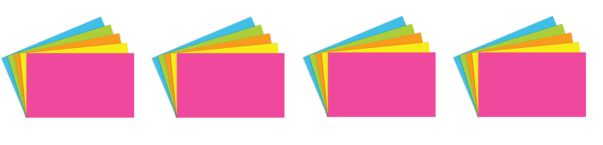 Top Notch Teacher Products TOP360 Brite Assorted Index Cards Blank, 1'' Height, 3'' Wide, 5'' Length (100 Cards per Package) (4-Pack)