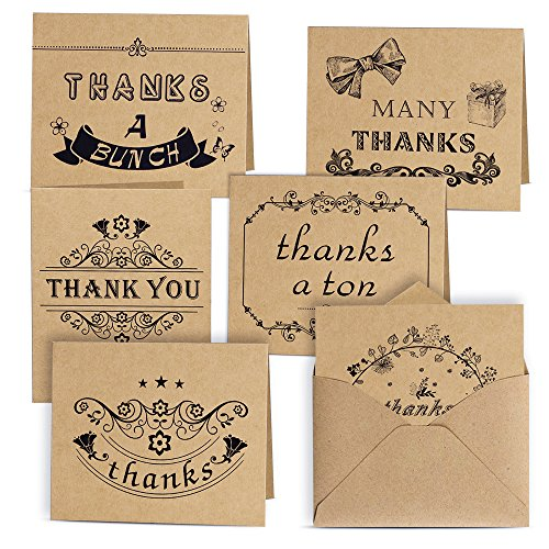 Kuuqa 36 Pieces Thank You Notes Cards With 36 Envelopes And 36 Stickers  6 Designs
