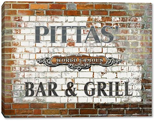 PITTAS' World Famous Bar & Grill Brick Wall Stretched Canvas Print