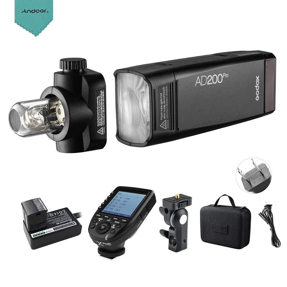 【PSE認証取得】Godox AD200Pro ポケット フラッシュストロボ ワイヤレスTTLフラッシュ 交換可能なフラッシュヘッド付き Andoerクリニングクロス付き GN52 GN60 1/8000 HSS 200W Xpro-C E-TTL IIフラッシュトリガトランスミッタ付き キヤノンEOSカメラ用 JPプラグ   B07RTYBWKH