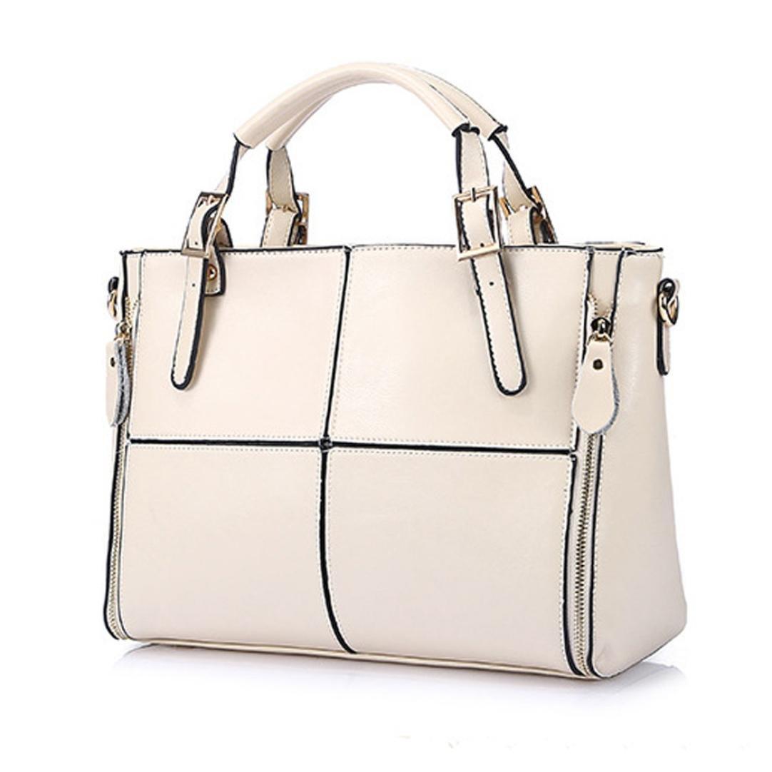 Mysky Bags, Women Leather Solid Color Large-Capacity Handbag Shoulder Bag Messenger Bag (White)