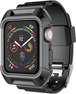 Takfox Smartwatch Band with Case for Apple Watch Band 42mm, Silicone Sport Protective Bumper Case Breathable Strap Bands Replacement Apple Watch Band for 42mm iWatch Series 3 Series 2 Series 1-Black