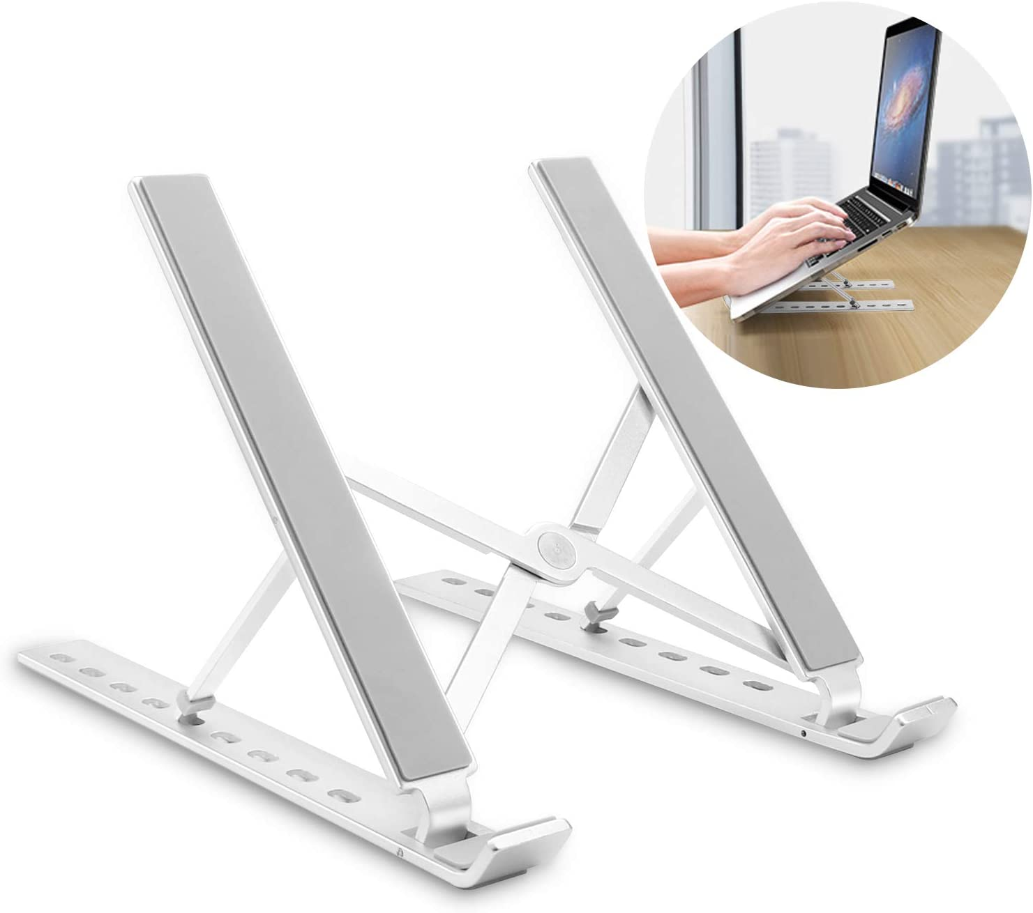 OUSI Portable Laptop Stand, Upgraded Laptopr Riser, 9-Angles Adjustable, Compatible with MacBook Air Pro, HP, Dell, More 10-15.6 Inch Laptop - Silver