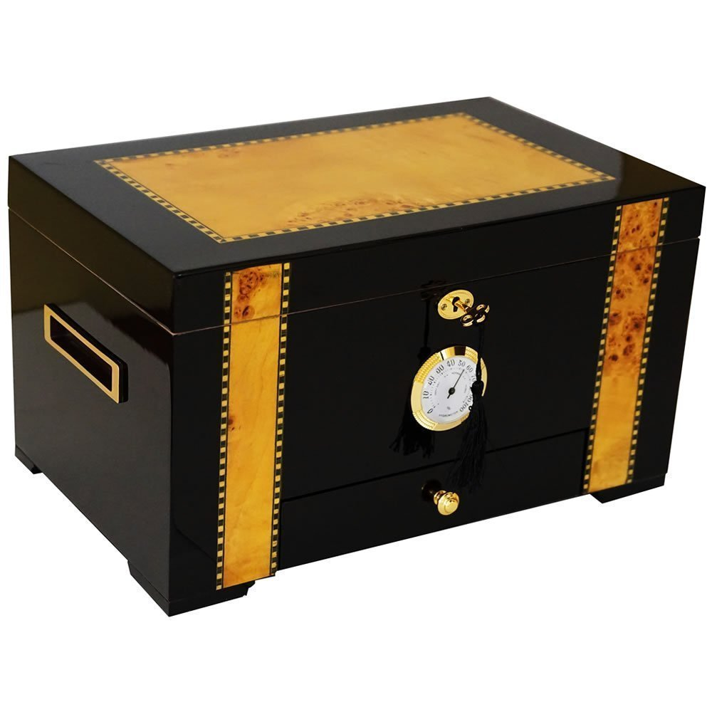 The Ebony - Cigar Humidor - Exotic High Gloss Piano Finish Ebony Wood With Birdseye Maple Inlay, Spanish Cedar Interior. Holds 150 Cigars (15 3/4'' X 9 1/2'' X 8 5/8'') by H20