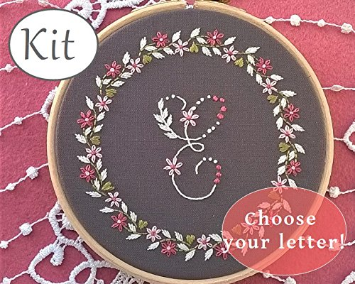 Hand Embroidery Kit Little Flowers Monogram Gray Letter Design