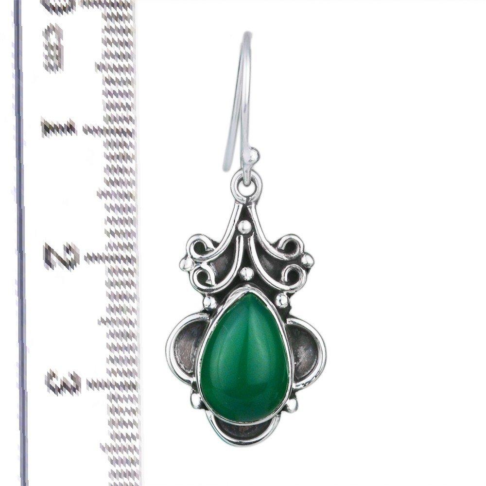 925 Sterling Silver Green Onyx Pear dangle Earrings fine Jewelry 4.92 g ci