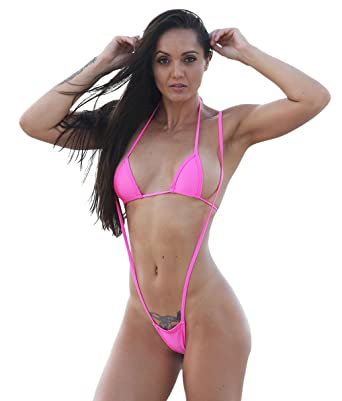 2650e445a1 Amazon.com: Hot Pink Micro Slingshot G String Bikini Sets: Clothing