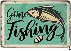 Swono Gone Fishing Tin Signs,Retro Poster with Fish on Old Rusty Metal Background Vintage Metal Tin Sign for Men Women,Wall Decor for Bars,Restaurants,Cafes Pubs,12x8 Inch