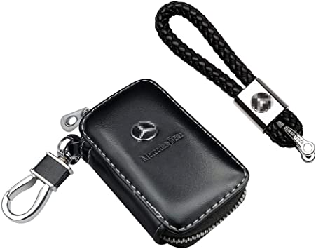 PU Leather Car Key Case Holder Double Zipper Keychain Ring Case Bag 8C
