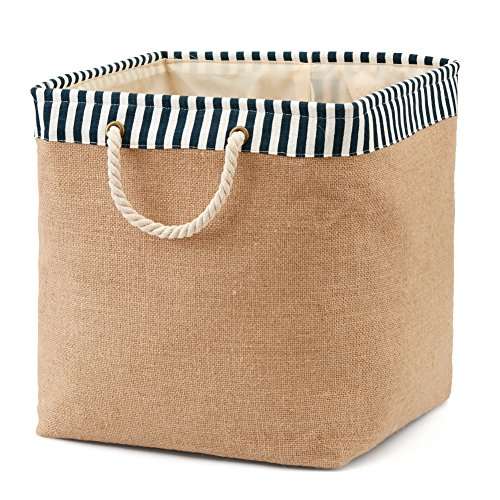 Folding Basket EZOWare Laundry Hamper Bucket Burlap Canvas Storage Container Bin For Office, Bedroom, Closet, Laundry, Toys & More - with Blue and White Trim (Burlap Basket)