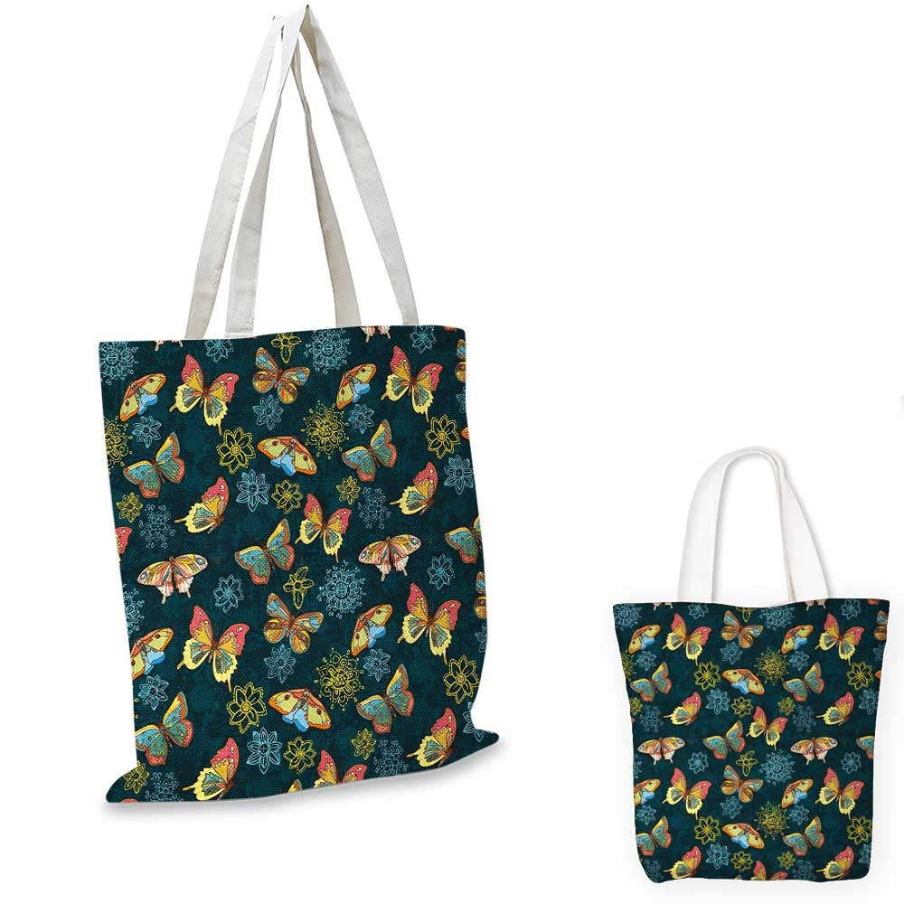 12x15-10 Flowers canvas messenger bag Butterflies and Flowers Springtime Nature Inspired Print Illustration canvas beach bag Yellow and Petrol Blue