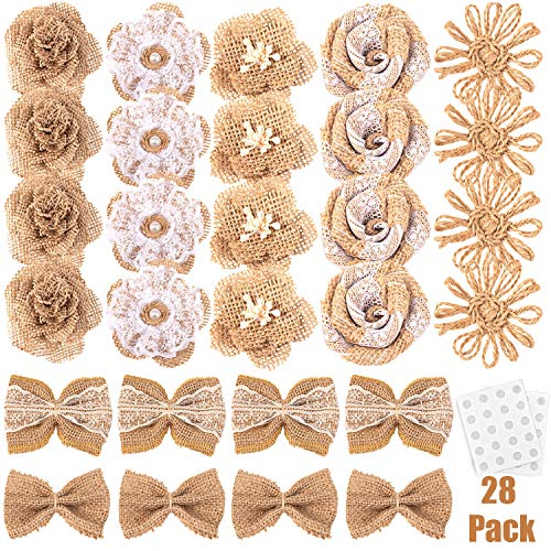 28 PCS Whaline Natural Burlap Flowers Including Vintage Burlap Rose Flowers Jute Twine Burlap Flowers Burlap Flowers Burlap Bowknot 7 Styles for DIY Craft and Rustic Wedding Party Decoration