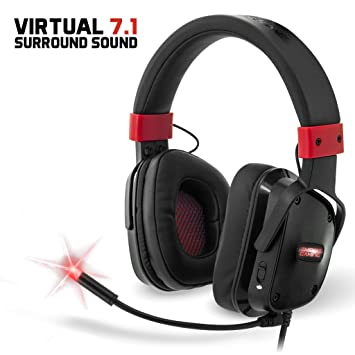 Empire Gaming H1300 - Casco para gamers PC sonido surround 7.1 virtual, micro flexible y auriculares con retroiluminación LED rojo. USB compatible ...