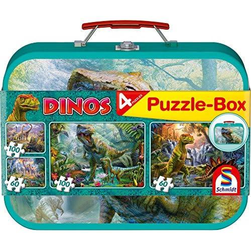 Schmidt Spiele 56495 - Dinos, Coffret de Puzzles, 2x60, 2x100 Pcs