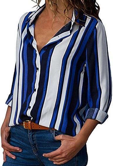 Blusa para Mujer Ofertas Ropa Casual Festiva Camisa Invierno De con Cuello En V Manga Larga con Cuello En V Camisa A Rayas Blusa Tops Vestido Glamoroso: Amazon.es: Ropa y accesorios
