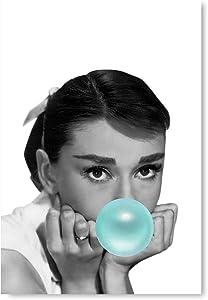 Funny Ugly Christmas Sweater Audrey Hepburn Fan Gift Printed Artwork New Audrey Hepburn Blue Bubble Gum Home Decor Unframed Art Hepburn New Poster Wall Art 3 32
