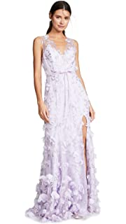 dd770874ac91 Marchesa Notte Women s Strapless High Low Embroidered Gown with 3D ...