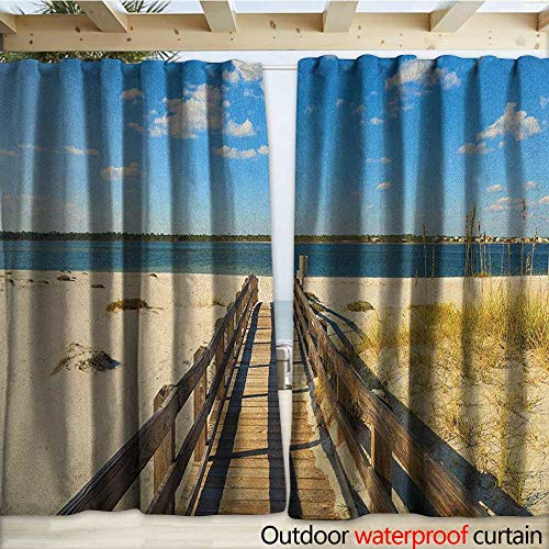 warmfamily Beach Waterproof Sliding Door Curtains Perdido Beach and Long Pier Deck Over Sand Gulf of Mexico South America Resort Theme W120 x L96 Cream Blue (Right Pier Lighted)
