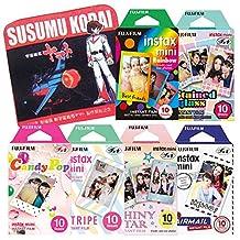 Fujifilm Instax Mini Instant Film Rainbow & Stained Glass & Candy Pop & Shiny Star & Stripe & Airmail 10 Sheets X 6 Assorted Films Value Set with Star Blazers 2199 premium towel Susumu Kodai