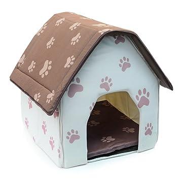 BBDI plegable interior mascota perro gato casa cama de refugio - Beige + marrón con huellas: Amazon.es: Productos para mascotas