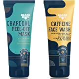 Beardhood Caffeine Face Wash Cleanser (100ml) and Charcoal Peel Off Face Mask (100g) Combo