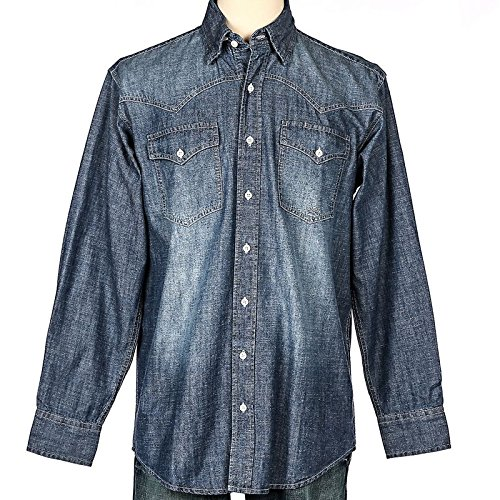 Miller International Mens Denim Button Up Shirt L Light ()