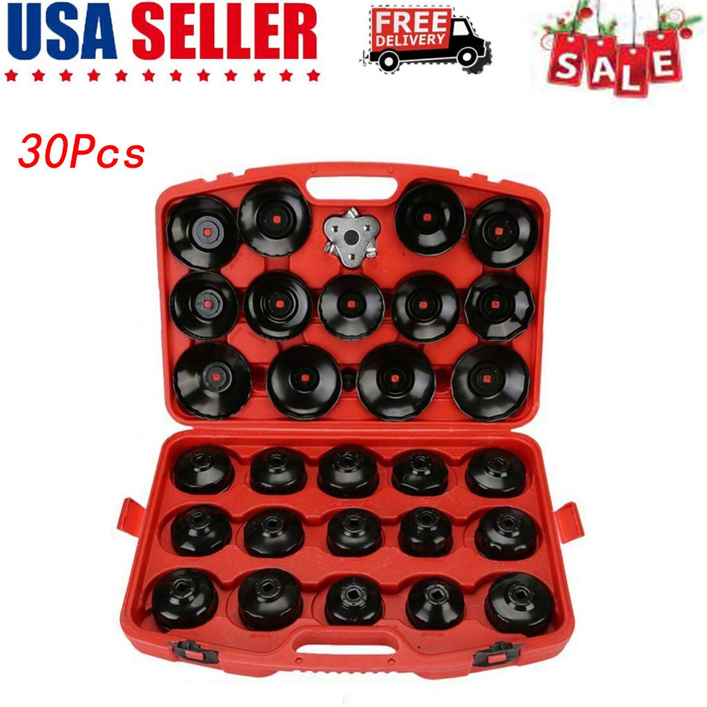 30Pcs Universal Oil Filter Cap, High Performance Auto Cup Type Oil Filter Cap Wrench Socket Removal Tool Set for a Wide Range of Vehicles (Ø65-120mm, Black)