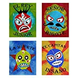 Lucha Libre, Luchador Collection, Set of 4 08x10 Inch Print, Kids wall decor, Lucha Libre, wall decor, playroom decor, nursery decor, room decor for boys, lucha libre posters, mexican lucha