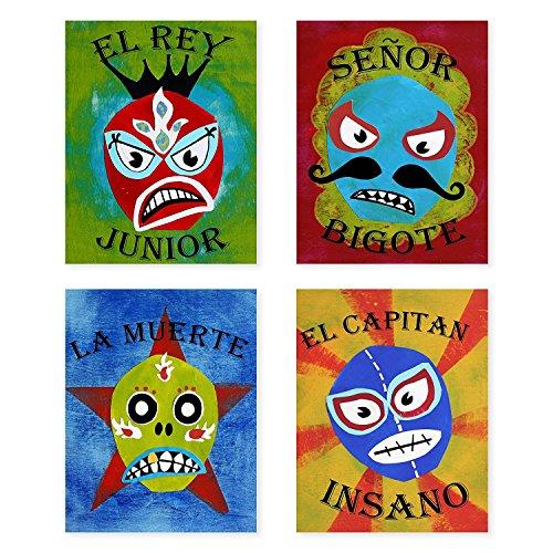 - Lucha Libre, Luchador Collection, Set of 4 05x07 Inch Print, Kids wall decor, Lucha Libre, wall decor, playroom decor, nursery decor, room decor for boys, lucha libre posters, mexican lucha