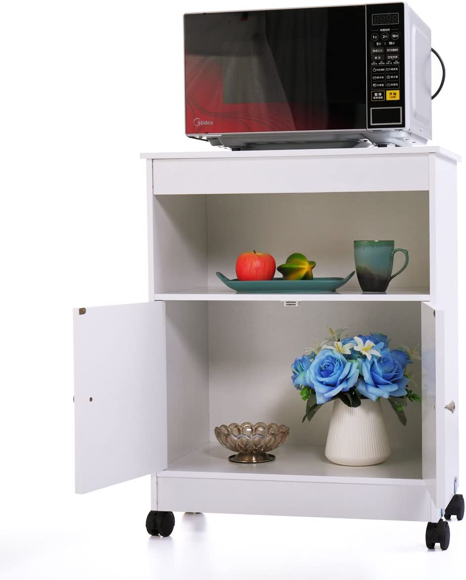 N+A GMHAHA Microwave Cart Kitchen Oven Stand Freestanding Bathroom Storage Cabinet with Two Doors and Shelf