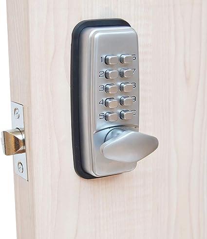 Cerradura digital para puerta con código de bloqueo de HomeSecure, resistencia meteorológica, cromada.: Amazon.es: Bricolaje y herramientas