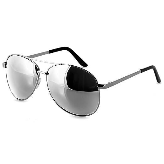 CASPAR Unisex Aviator Pilotenbrille mit verspiegelten Gläsern - viele Farben - SG005, Farbe:silber