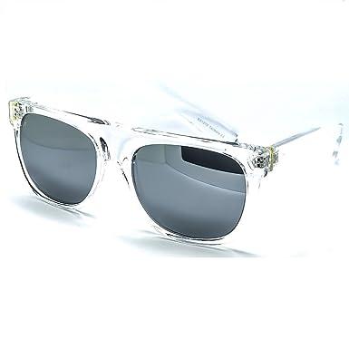 Sonnenbrille KISS ®-Stil SUPER FLAT TOP Wayfarer Sonnenbrille Jahrgang Männer Frauen Unisex: RAPPER - CRYSTAL / Silver 9Roe2HD