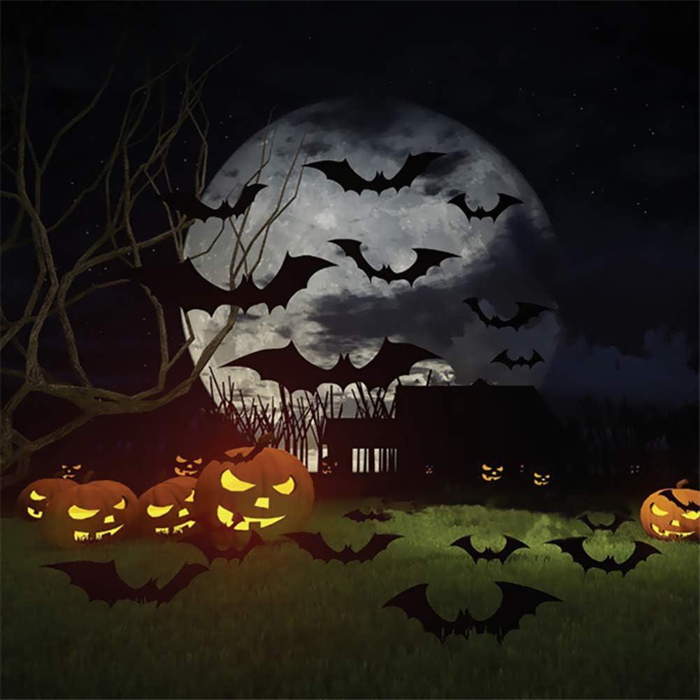 Besteek 120 Pack Halloween Decorations Bat Decals Plastic 3D Wall Bats Stickers for Home Window Decor Party Supplies (Black) - -