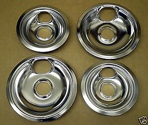 """Cooking Appliances Parts CP1 Range Stove Chrome Drip Pans Burner Bowls Set 2/ 6"""" 2/ 8"""""""
